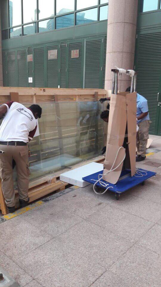 Technicians disassemble